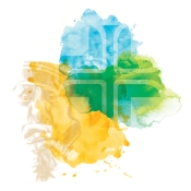 St. Joseph Health System Cross with green, blue and yellow abstract background