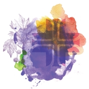 St. Joseph Health System Cross with purple, yellow, red and green abstract background
