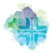 St. Joseph Health System Cross with blue, green and purple abstract background